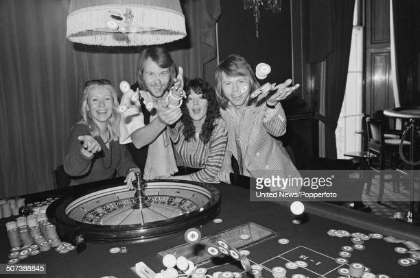 Swedish pop group Abba posed at a press conference in London on 16th February 1977 From left to right Agnetha Faltskog Benny Andersson AnniFrid...