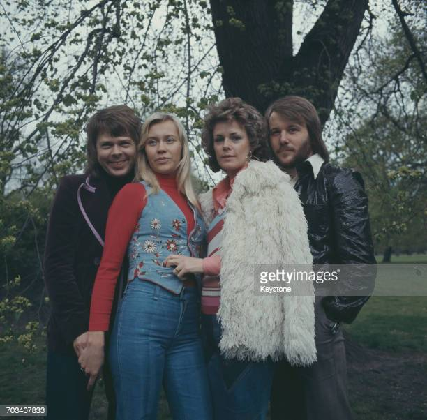 Swedish pop group Abba promote their single 'Waterloo' in Copenhagen Denmark in 1974 Björn Ulvaeus Agnetha Fältskog AnniFrid Lyngstad Benny Andersson