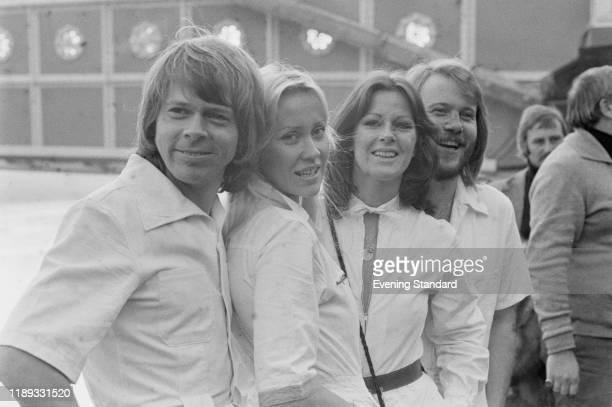 Swedish pop group ABBA, UK, 16th November 1976; they are Björn Ulvaeus, Agnetha Fältskog, Anni-Frid Lyngstad , and Benny Andersson.