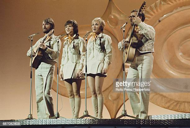 Swedish pop group Family Four perform the song 'Vita vidder' on stage for Sweden in the 1971 Eurovision Song Contest at the Gaiety Theatre in Dublin...