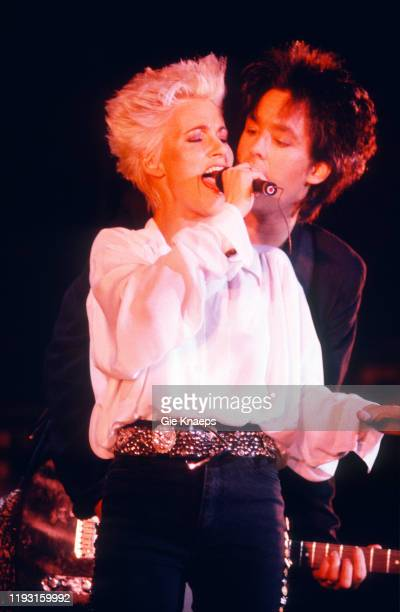 Swedish Pop group Roxette performs onstage during the Look Sharp Tour at the Ancienne Belgique concert hall, Brussels, Belgium, November 27, 1989....