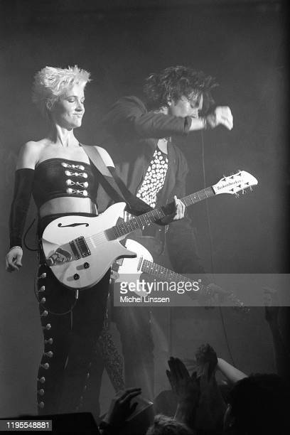 Swedish pop rock duo Roxette aka Marie Fredriksson and Per Gessle perform on stage in the Netherlands circa 1989