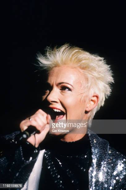 Swedish Pop vocalist Marie Fredriksson of the group Roxette performs onstage during the group's Join the Joyride Tour at the Rotterdam Ahoy arena...