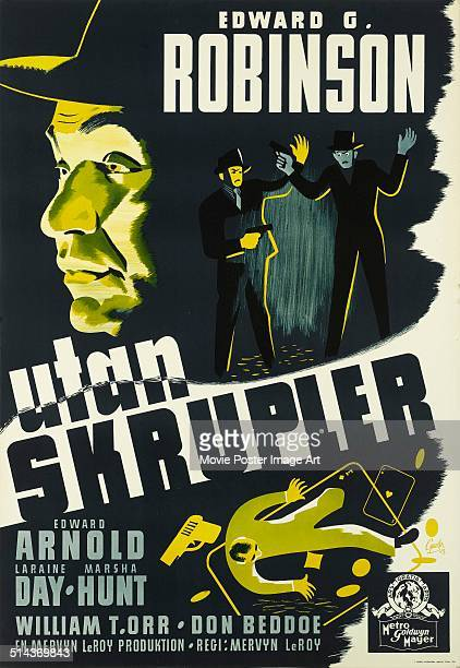 A Swedish poster for Mervyn LeRoy's 1941 crime film 'Unholy Partners' starring Edward G Robinson