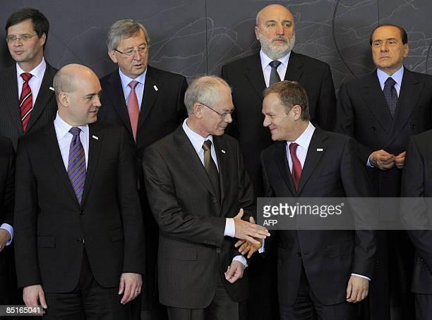 Swedish Prime Minister Frederik Reinfeldt Belgian Prime Minister Herman Van Rompuy Polish Prime Minister Donald Tusk and Dutch Prime Minister Jan...
