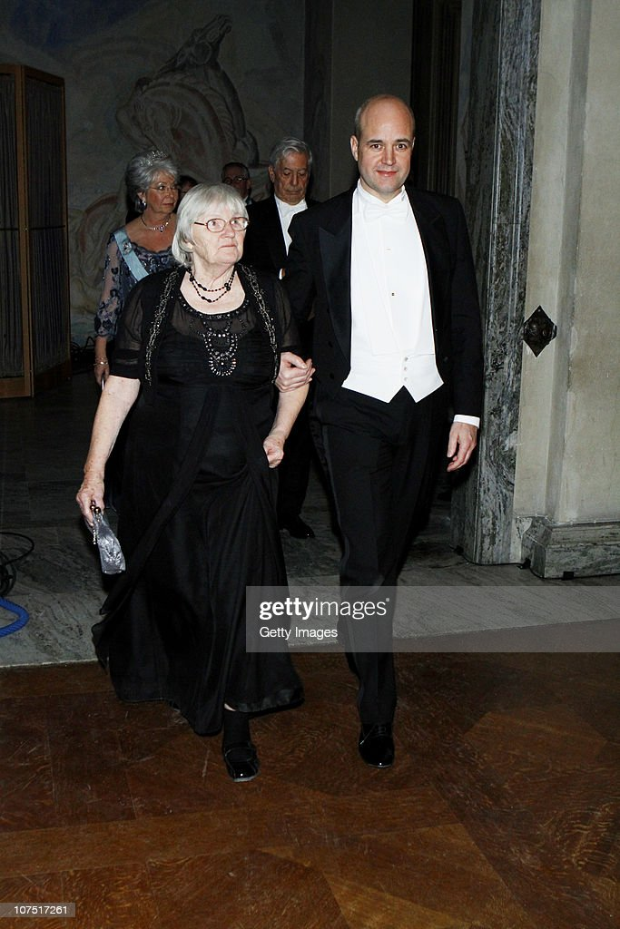 Swedish Prime Minister Fredrik Reinfeldt and Ruth Edwards, wife of Medicine Laureate Robert G. Edwards, arrive to the Nobel Banquet at the Stockholm City Hall on December 10, 2010 in Stockholm, Sweden. The banquet features a three-course dinner, entertainment and dancing.