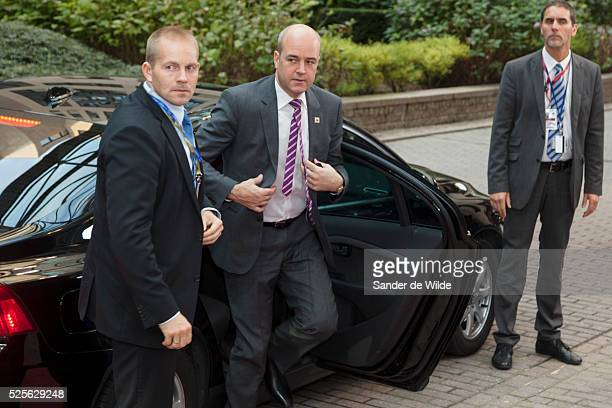 Swedish Prime Minister Fredrik Reinfeldt arrives at an EU summit in Brussels on Friday, Oct. 19, 2012. European leaders have taken a step towards the...
