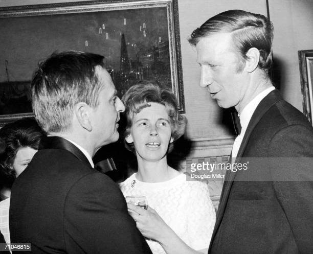 Swedish Prime Minister Olof Palme talking to Leeds United and England footballer Jack Charlton and his wife at a reception at 10 Downing Street given...