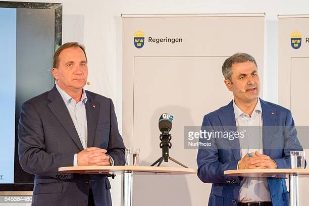 Swedish Prime Minister Stefan Löfven and Infrastructure and Energry Minister Ibrahim Bayal speak to the press at Almedalen week in Visby Sweden on...