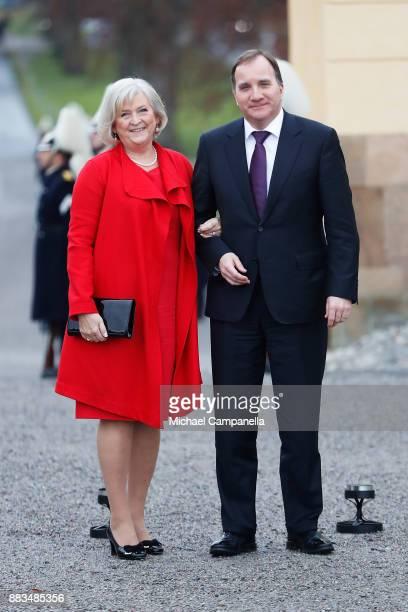 Swedish Prime Minister Stefan Lšfven and Ulla Lšfven attend the christening of Prince Gabriel of Sweden at Drottningholm Palace Chapel on December 1...