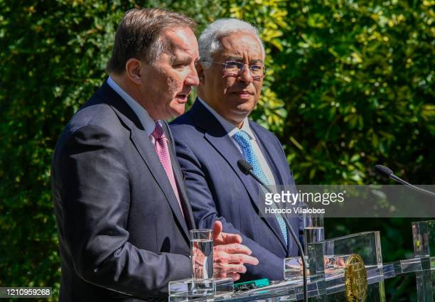 Swedish Prime Minister, Stefan Löfven , delivers remarks during a press conference held with Portuguese Prime Minister, António Costa , at the end of...