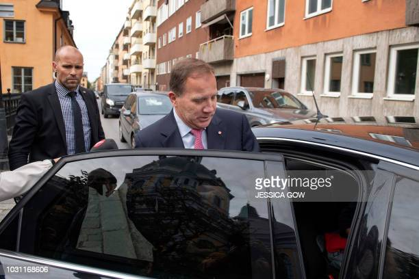 Swedish Prime Minister Stefan Löfven leaves after paying a visit to the the grave of late Swedish Foreign Minister Anna Lindh to mark 15 years since...