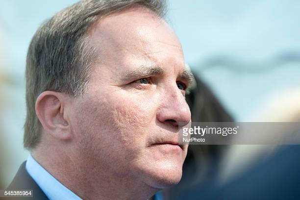Swedish Prime Minister Stefan Löfven speaks to the press at Almedalen week in Visby Sweden on July 5 2016 after launching a new integration initiative