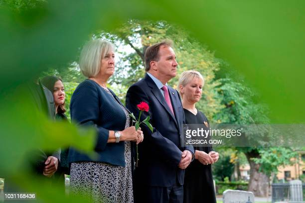 Swedish Prime Minister Stefan Löfven wife Ulla Löfven and Foreign Minister Margot Wallström visit the grave of late Swedish Foreign Minister Anna...