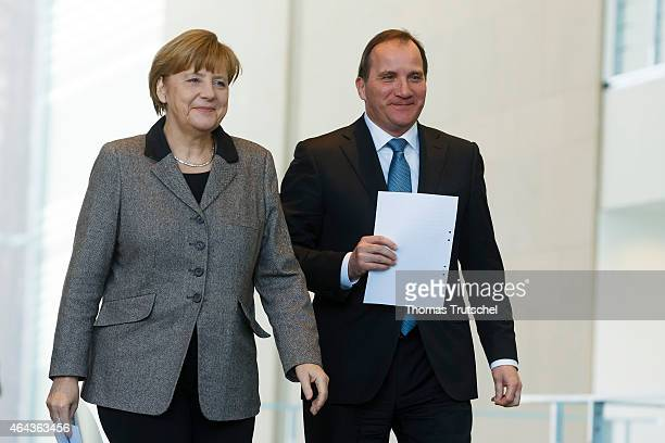 Swedish Prime Minister Stefan Lofven and German Chancellor Angela Merkel arrives for a press conference after their meeting on February 25 2015 in...