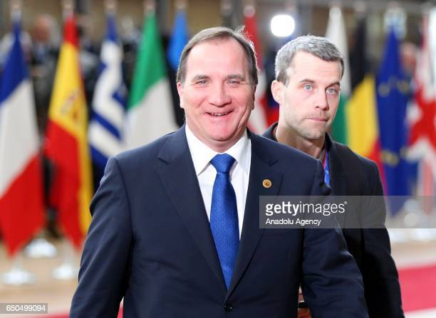 Swedish Prime Minister Stefan Lofven arrives to attend the European Union Leaders Summit in Brussels Belgium on March 9 2017 Leaders scheduled to...