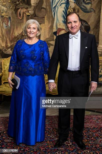 Swedish prime minister Stefan Lofven arrives with his wife at a gala dinner hosted by the Swedish royal family in connection with the state visit...