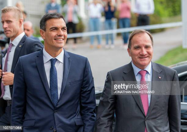 Swedish Prime Minister Stefan Lofven arrives with Spain's Prime Minister Pedro Sanchez during a state visit on September 5 2018 in Enkoping Sweden
