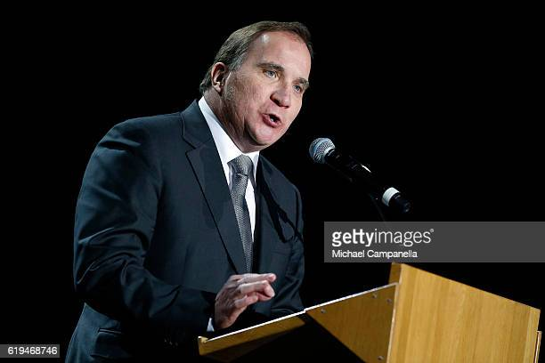 Swedish Prime Minister Stefan Lofven gives a speech during the 'Together in Hope' event at Malmo Arena on October 31 2016 in Malmo Sweden The Pope is...