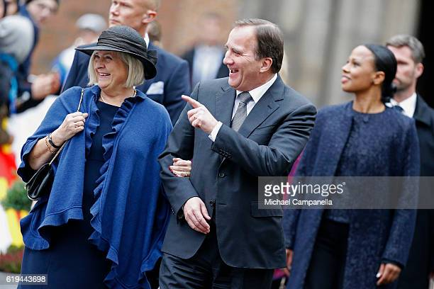 Swedish Prime Minister Stefan Lofven his wife Ulla Lofven and Swedish Minister of Culture and Democracy Alice Bah Kuhnke arrive prior to Pope Francis...
