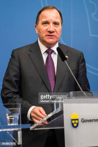 Swedish Prime Minister Stefan Lofven holds a joint press conference with the British Prime Minister Theresa May at the Rosenbad government office on...