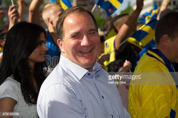 Swedish Prime Minister Stefan Lofven smiles as the Sweden U21 Team returned to Sweden victorious after winning UEFA European U21 Championship on July...