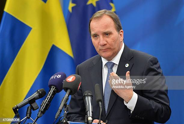 Swedish prime minister Stefan Lofven speaks during the European Union summit in Brussels Belgium on April 23 2015