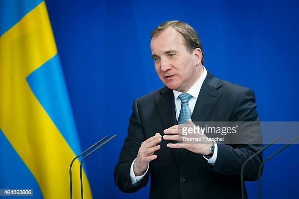 Swedish Prime Minister Stefan Lofven speaks to the media after his meeting with German Chancellor Angela Merkel on February 25 2015 in Berlin Germany