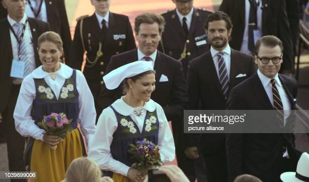 Swedish Princess Madeleine and her husband-to-be Chris O'Neill, Prince Carl Philip, Crown Princess Victoria and Prince Daniel at the Swedish national...