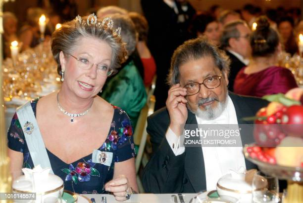 Swedish Princesse Christina and Literature Nobel prize winner VS Naipaul attend the banquet for the Nobel laureates at Stockholm's City Hall late...