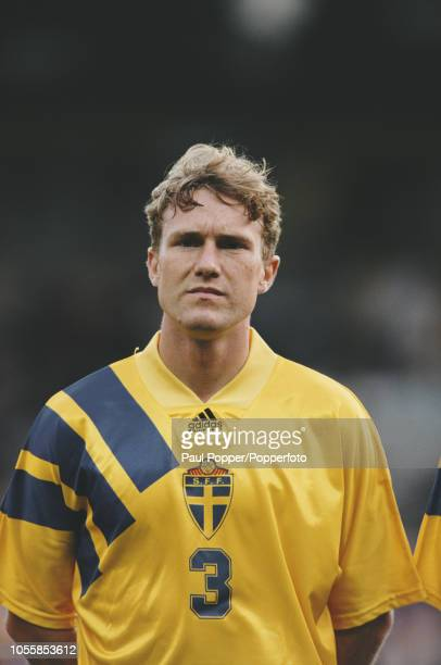 Swedish professional footballer Jan Eriksson defender with IFK Norrkoping posed prior to playing for the Sweden national team in the UEFA Euro 1992...