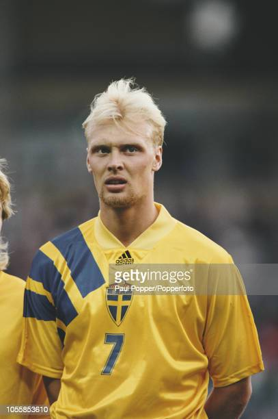 Swedish professional footballer Klas Ingesson midfielder with KV Mechelen posed prior to playing for the Sweden national team in the UEFA Euro 1992...