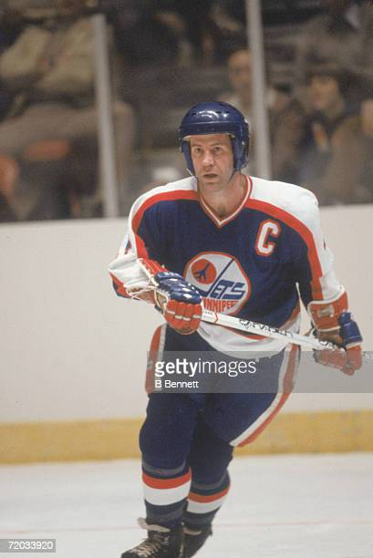 Swedish professional hockey player Lars-Erik Sjoberg , defenseman for the Winnipeg Jets, on the ice during a game with the New York Rangers at...