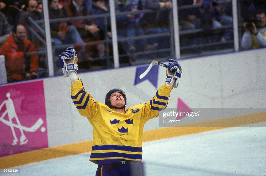 Swedish professional hockey player Peter Forsberg, center for Team Sweden, celebrates making his shootout goal against Team Canada during sudden death in the final game of the ice hockey event at the 1994 Winter Olympic Games, Lillehammer, Norway, February 27, 1994. Forsberg's goal won Sweden its first Olympic gold medal in ice hockey.