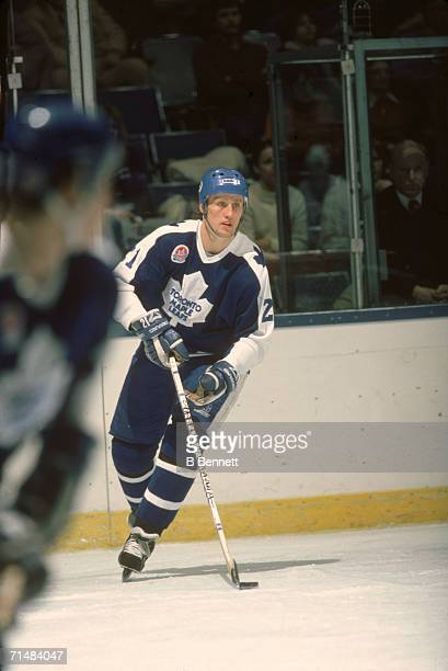 Swedish professional ice hockey player Borje Salming of the Toronto Maple Leafs skates with the puck on the ice during a road game 1980s Salming...