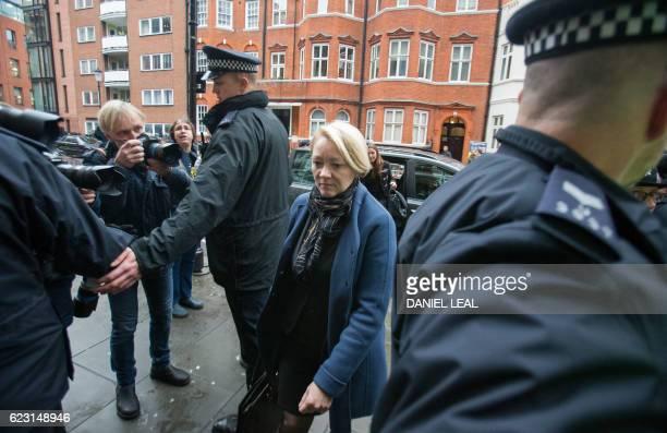 Swedish prosecutor Ingrid Isgren arrives back at the Ecuadorian Embassy in London on November 14, 2016 where WikiLeaks founder Julian Assange was...