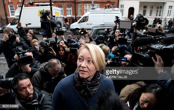 Swedish prosecutor Ingrid Isgren is surrounded by media as she arrives to attend an interview with WikiLeaks founder Julian Assange at the Ecadorian...