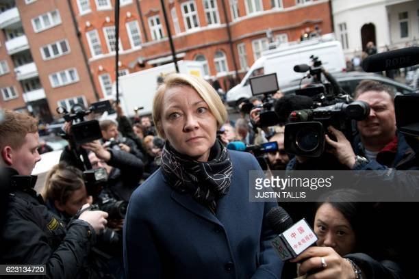 Swedish prosecutor Ingrid Isgren is surrounded by media as she arrives to attend an interview with WikiLeaks founder Julian Assange at the Ecuadorian...