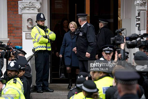 Swedish prosecutor Ingrid Isgren leaves the Ecuadorian Embassy in London on November 14, 2016 where WikiLeaks founder Julian Assange was being...
