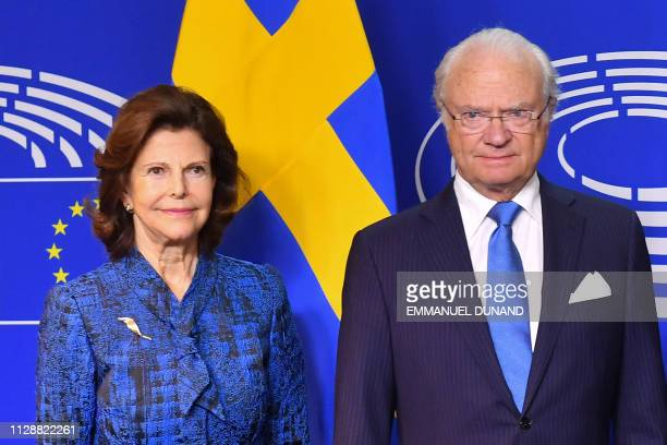 Swedish Queen Silvia and King Carl XVI Gustaf arrive at the European Parliament in Brussels on March 6, 2019.