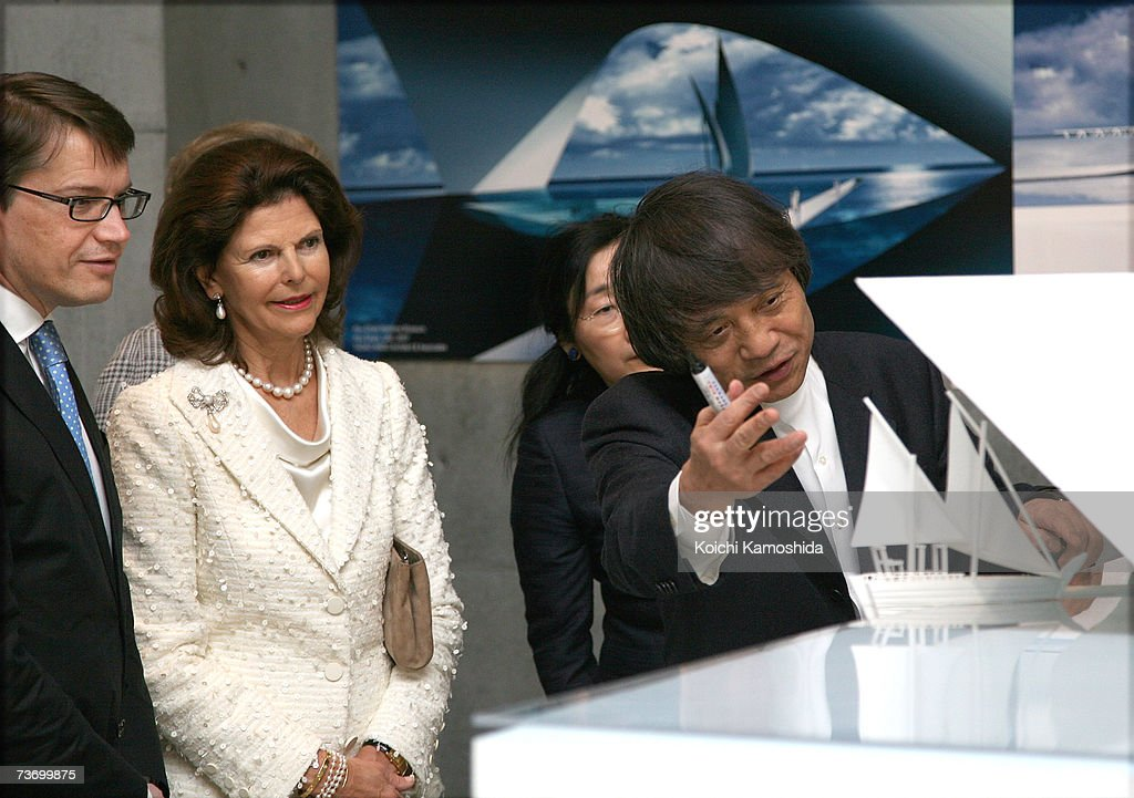 Swedish Queen Silvia (C) tours 21_21 Design Sight designed by Japanese architect Tadao Ando (R) at Tokyo Midtown on March 26, 2007 in Tokyo, Japan. The Swedish King and Queen are on a week long visit to Japan.