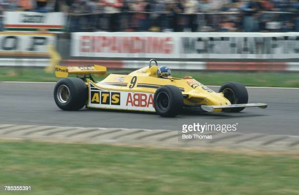 Swedish racing driver and former session drummer Slim Borgudd drives the Team ATS ATS HGS1 Cosworth V8 to finish in 6th place in the 1981 British...