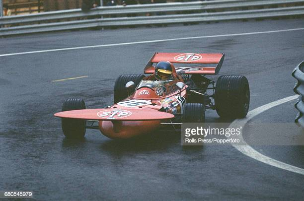 Swedish racing driver Ronnie Peterson drives the STP March Racing Team March 711 Ford Cosworth V8 in the Spanish Grand Prix at the Montjuïc Park...