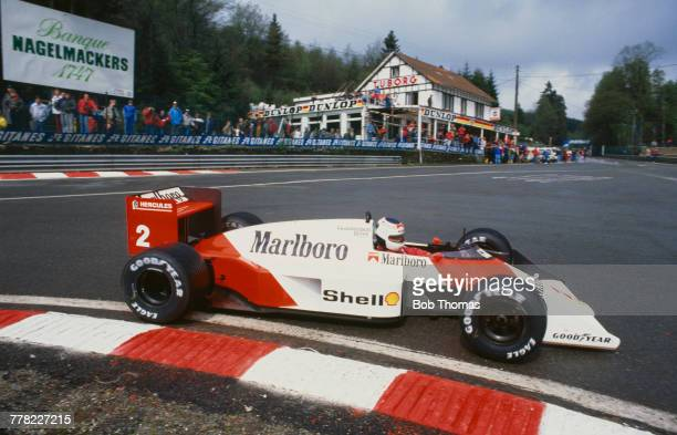 Swedish racing driver Stefan Johansson drives the Marlboro McLaren International McLaren MP4/3 TAG TTE PO1 15 V6t to finish in 2nd place in the 1987...