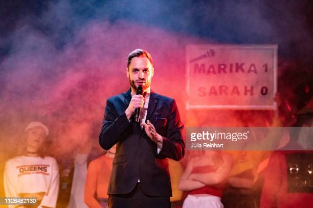 Swedish radio personality Robin Paulsson leads through the second heat of Melodifestivalen Sweden's competition to select the country's...
