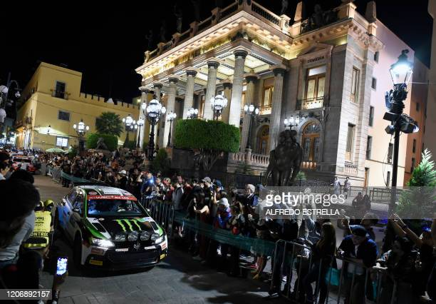 Swedish rally driver Oliver Solberg and Irish co-driver Aaron Johston of the Oliver Solberg WRT drive during the ceremonial start of the FIA World...