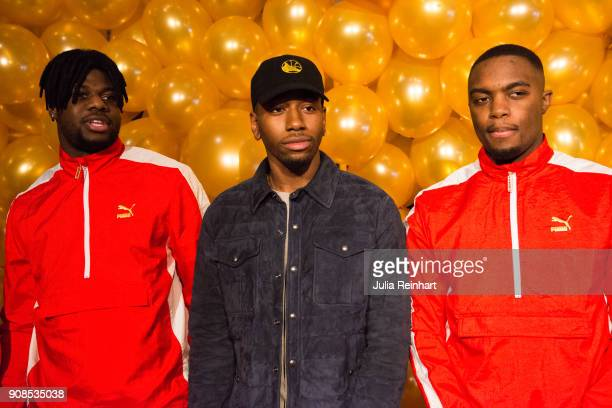 Swedish rapper Jireel winner of the Artist of the Year award and two friends arrive at the P3 Guld Gala Swedish Radio's celebration of the best in...