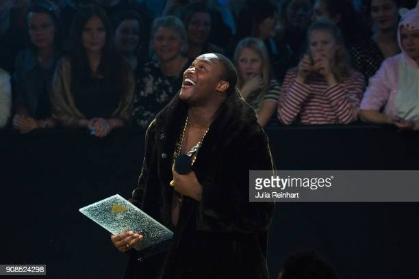 Swedish rapper Lamix rejoices at the win of the Artist of the Future award at the P3 Guld Gala Swedish Radio's celebration of the best in Swedish...