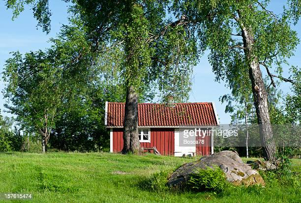 Swedish red wooden cottage