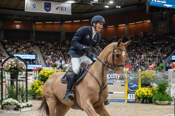 Swedish rider Henrik von Eckermann on Peter Pan competes in the FEI World Cup Jumping event during the Gothenburg Horse Show at Scandinavium Arena on...